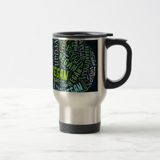 """Vegan"" Word-Cloud Mosaic Travel Mug"