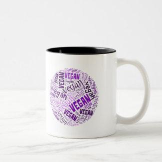 """Vegan"" Word-Cloud Mosaic Two-Tone Coffee Mug"