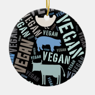 """Vegan"" Word-Cloud Mosaic with a cow, pig, hen. Double-Sided Ceramic Round Christmas Ornament"