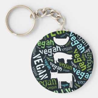 """""""Vegan"""" Word-Cloud Mosaic with Cow, Pig & Hen Keychain"""