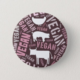 """""""Vegan"""" Word-Cloud Mosaic with Pig, Cow & Hen Button"""