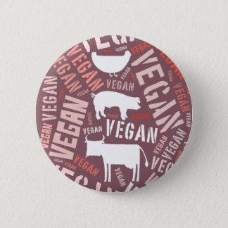 """Vegan"" Word-Cloud Mosaic with Pig, Cow & Hen Pinback Button"
