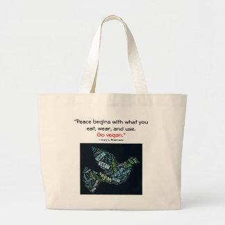 """Vegan"" Word-Cloud Mosaice Peace Dove & Quote Jumbo Tote Bag"