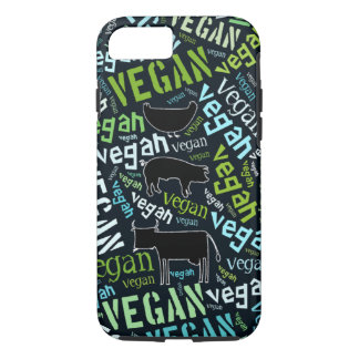 Vegan word cloud with a cow, pig and a chicken iPhone 8/7 case