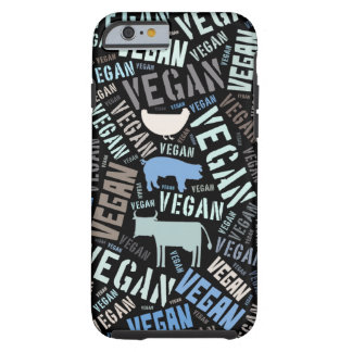 Vegan word cloud with a cow, pig and chicken tough iPhone 6 case