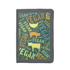 """""""Vegan"""" Word-Cloud with Cow, Pig, & Hen Wallet at Zazzle"""
