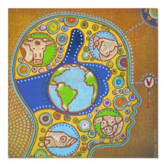 Vegan world 5.25x5.25 square paper invitation card
