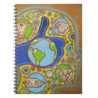 Vegan world spiral notebook
