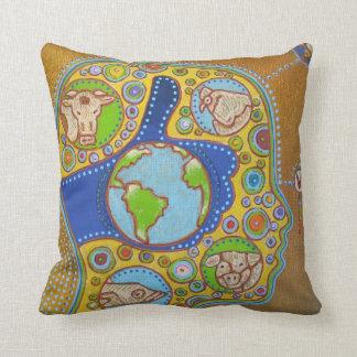 Vegan world throw pillow