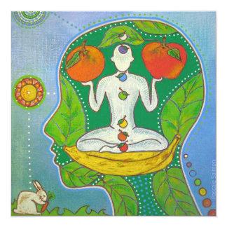 Vegan Yoga energy 5.25x5.25 Square Paper Invitation Card