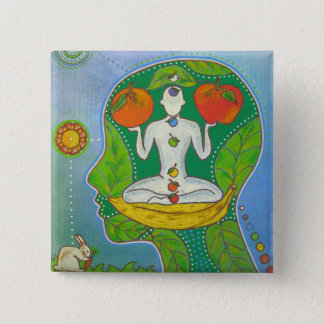 Vegan yoga fruits swipes in pinback button