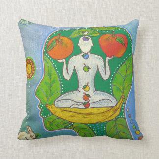 Vegan Yoga fruits Throw Pillow