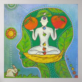 Vegan Yoga Frutas fijar Póster