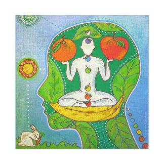 Vegan yoga impresiones en lienzo estiradas