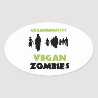 Vegan Zombies Oval Sticker