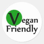 Vegano amistoso etiquetas redondas