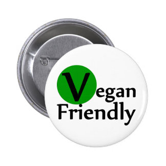 Vegano amistoso pin redondo de 2 pulgadas