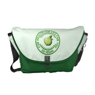 Vegano Apple verde vegetariano para la salud para Bolsa Messenger