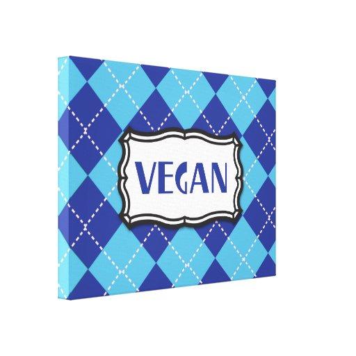Vegano (Argyle azul) Impresiones En Lona