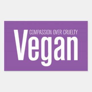 Vegano Compasión sobre crueldad Rectangular Pegatinas