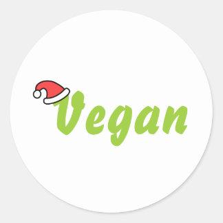 Vegano con el sombrero del navidad pegatina redonda