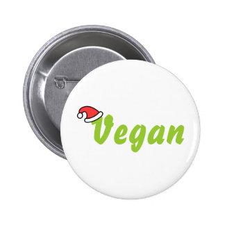 Vegano con el sombrero del navidad pin redondo 5 cm