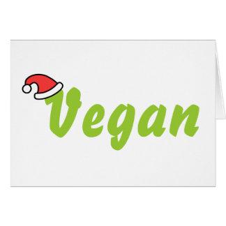 Vegano con el sombrero del navidad tarjeta de felicitación