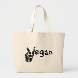 Vegano con símbolo de paz bolsa