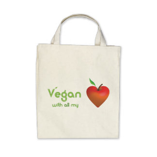 Vegano con todo mi corazón (corazón rojo de la man bolsa de mano