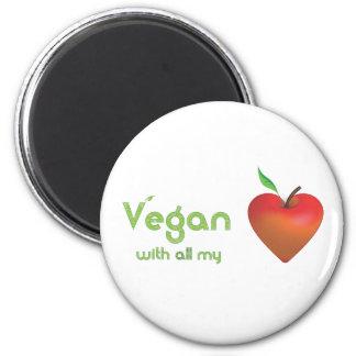 Vegano con todo mi corazón (corazón rojo de la man imanes