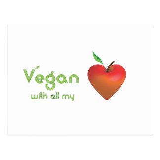 Vegano con todo mi corazón (corazón rojo de la tarjetas postales