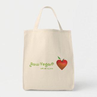 Vegano crudo con todo mi amor (corazón rojo de la bolsa tela para la compra