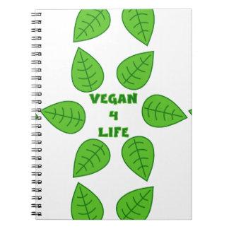 Vegano cuaderno verde de 4 hojas de la vida