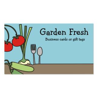 vegano de las verduras frescas del jardín que coci plantillas de tarjetas de visita