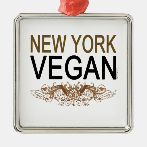 Vegano de Nueva York Adorno Navideño Cuadrado De Metal