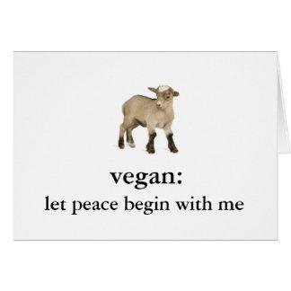 vegano: deje la paz comenzar conmigo (cabra del tarjeta pequeña