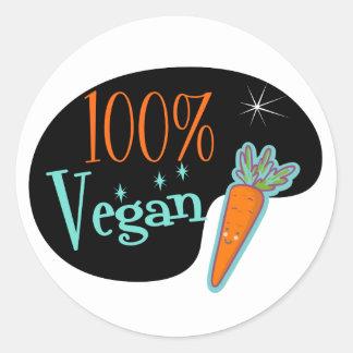 Vegano del 100 por ciento pegatina redonda