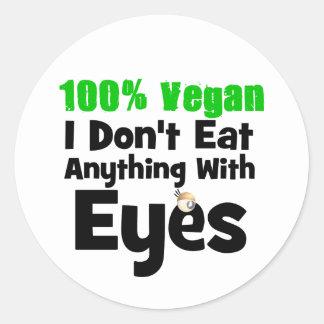 Vegano del 100 por ciento yo no como cualquier pegatinas redondas
