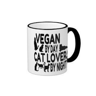 Vegano del amante del gato taza de dos colores