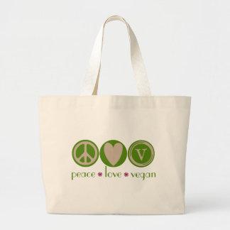 Vegano del amor de la paz bolsa tela grande