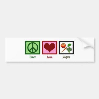 Vegano del amor de la paz pegatina de parachoque