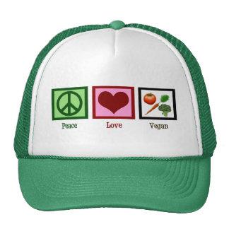 Vegano del amor de la paz gorras