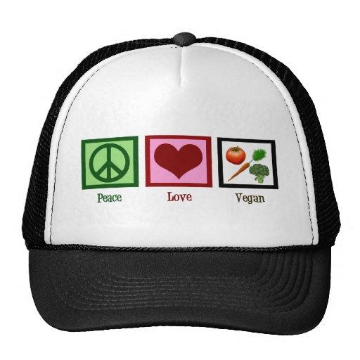Vegano del amor de la paz gorros