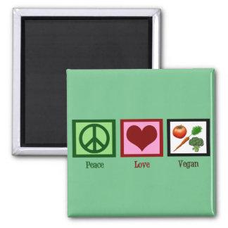 Vegano del amor de la paz imán cuadrado