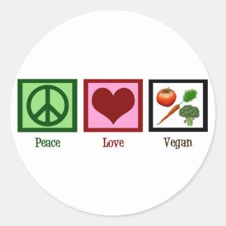 Vegano del amor de la paz etiqueta redonda