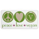 Vegano del amor de la paz placa de matrícula