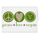 Vegano del amor de la paz tarjeta de felicitación