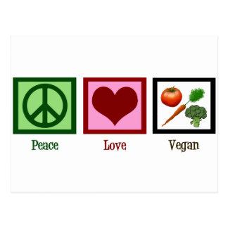 Vegano del amor de la paz tarjeta postal