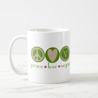 Vegano del amor de la paz tazas de café