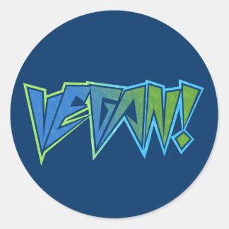 Vegano del azul del eje de balancín pegatina redonda